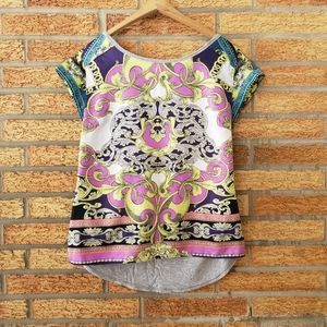 a.n.a Colorful Short Sleeve Top Size Small
